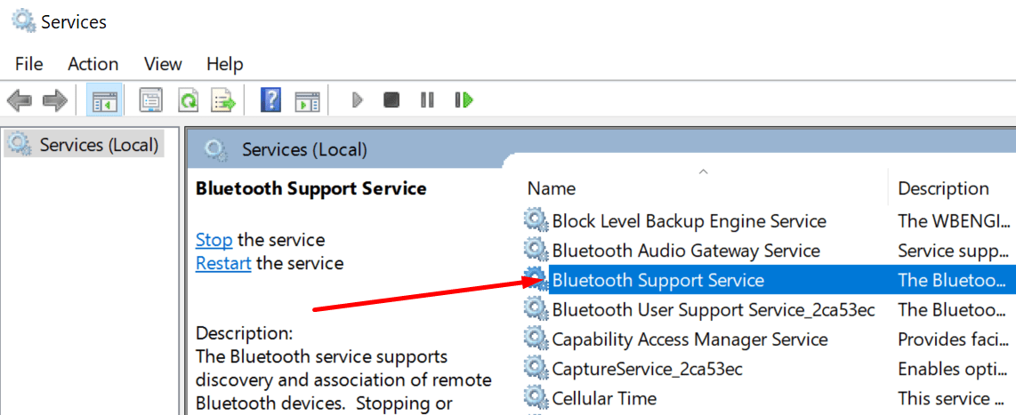 Servicio de soporte Bluetooth Windows 10