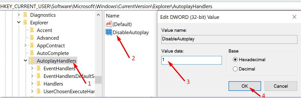 deshabilitar el editor de registro de reproducción automática