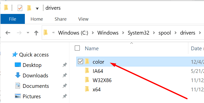 Controlador de color de Windows 10