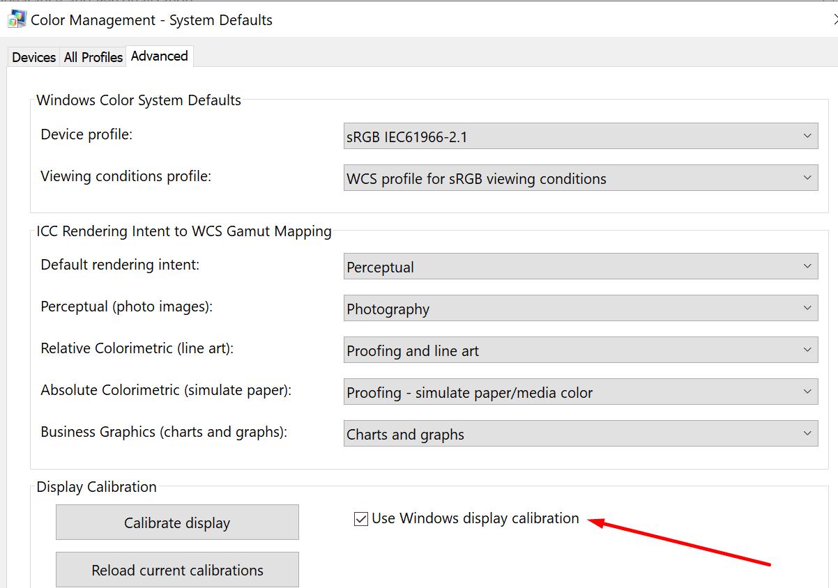 Usar calibración de pantalla de Windows