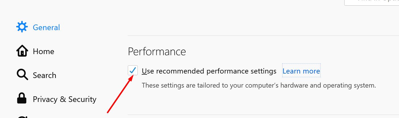 Desactive la configuración de rendimiento recomendada de Firefox