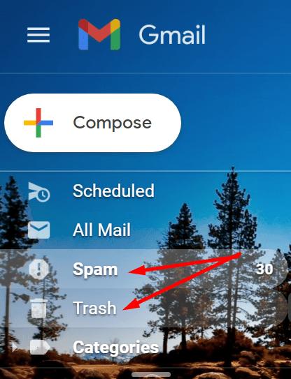 Eliminar la papelera de reciclaje de spam en Gmail