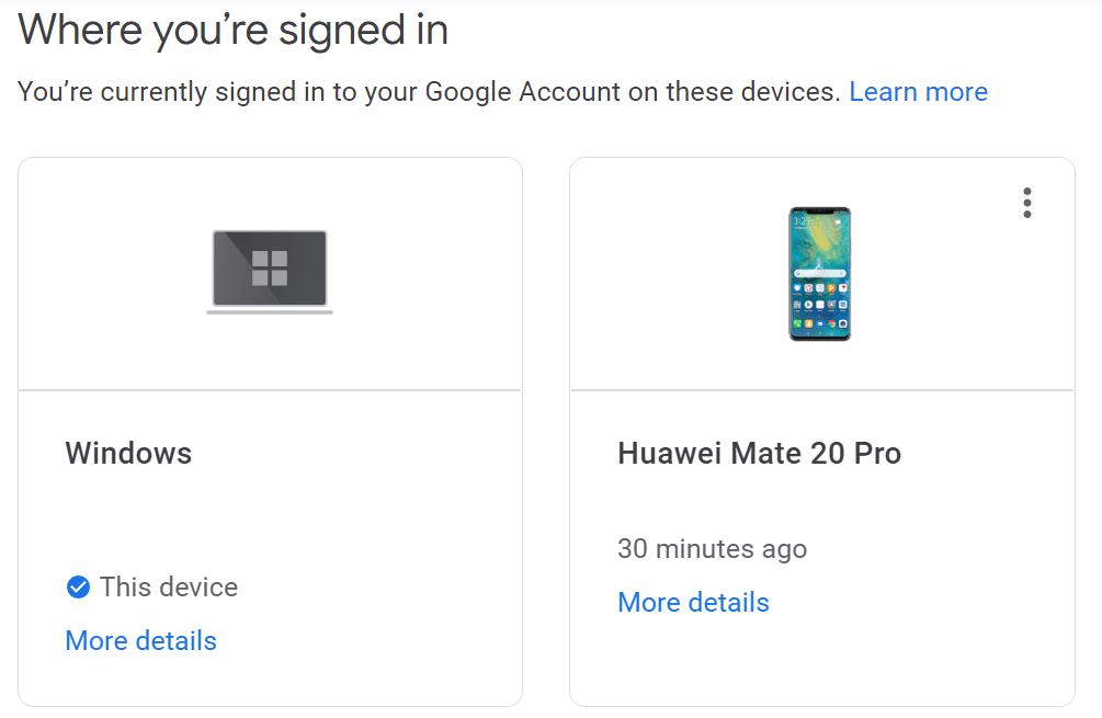 Dispositivos conectados actualmente a la cuenta de Google