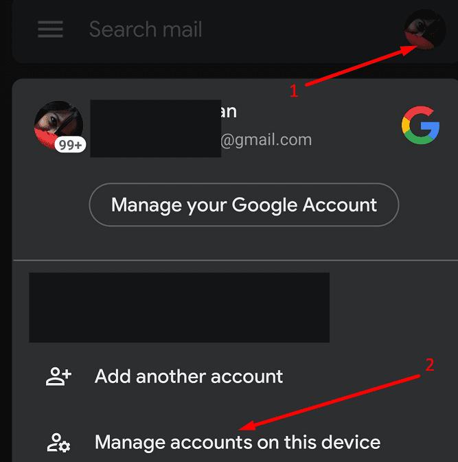 Gmail administra cuentas en este dispositivo