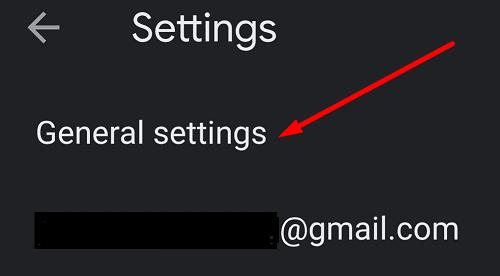 Configuración general de la aplicación Gmail