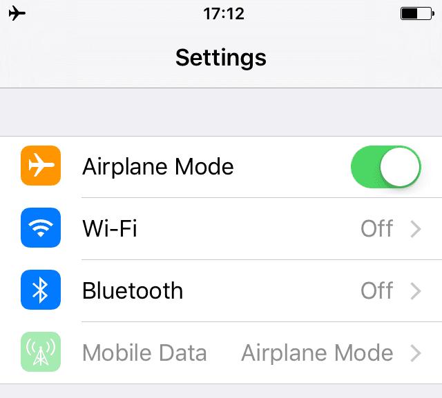 Activar el modo avión iPhone
