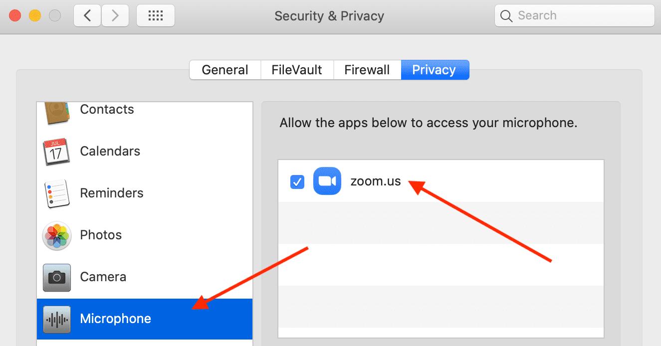 Acceso al micrófono con zoom de Mac