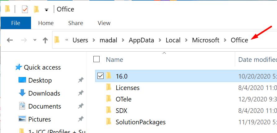 carpeta local para Microsoft Office