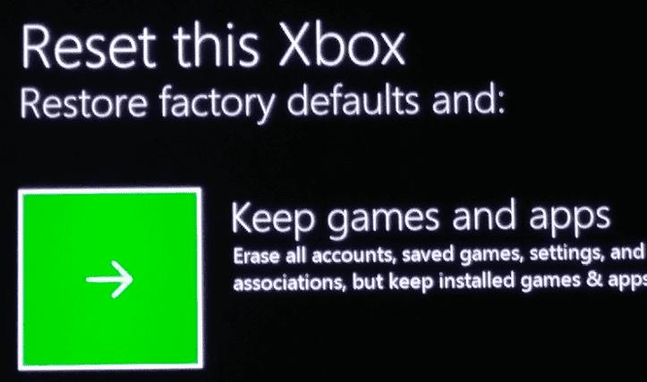 Restablecer Xbox