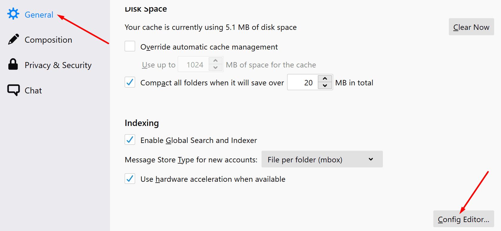 Editor de configuración de Thunderbird
