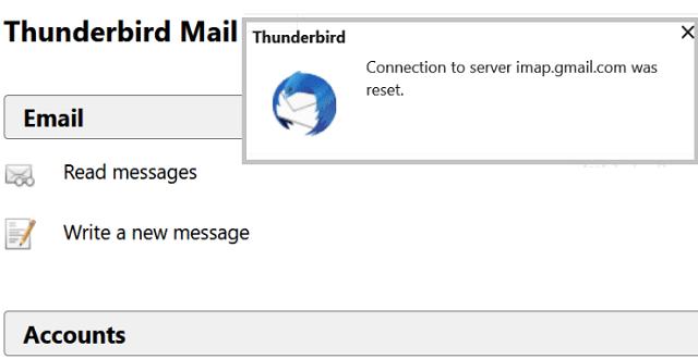 Error de Thunderbird: se restableció la conexión al servidor