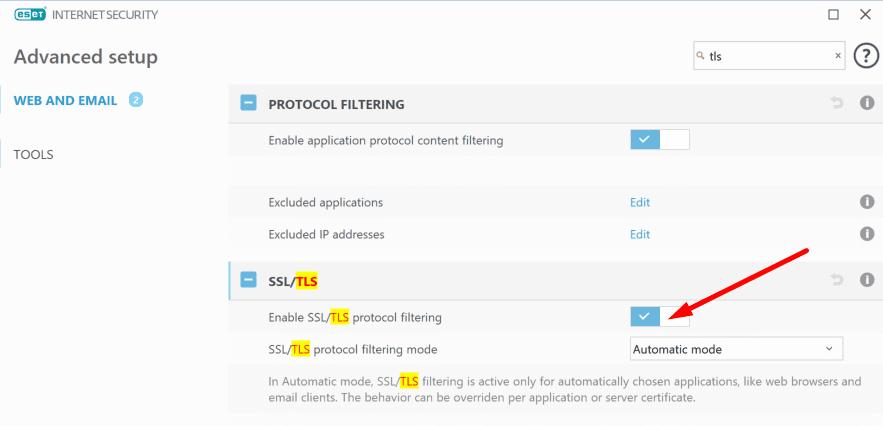 Deshabilitar el filtrado del protocolo eset ssl tls