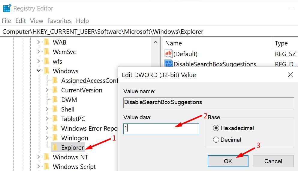 Deshabilitar la ventana de sugerencias de campo de búsqueda 10