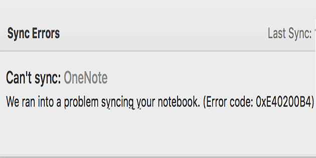 Solución de problemas de error de sincronización de OneNote 0xE40200B4