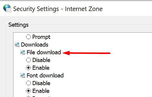 Habilitar la descarga del archivo de configuración de seguridad