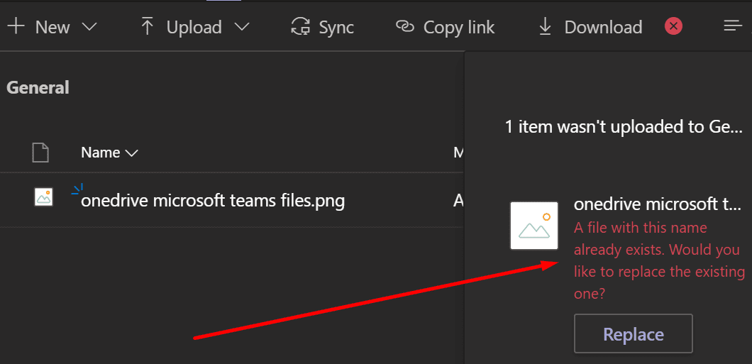 Microsoft Team Un archivo con este nombre ya existe Error