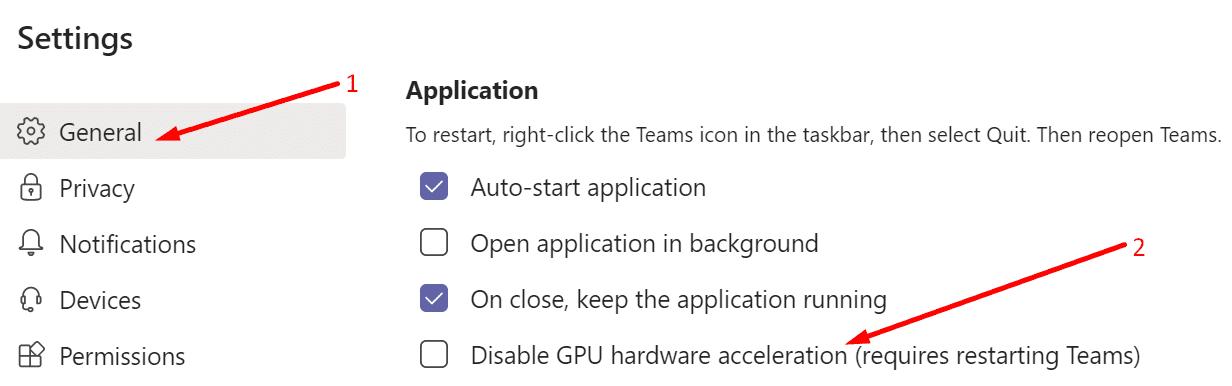 Microsoft Teams deshabilita la aceleración de hardware de GPU