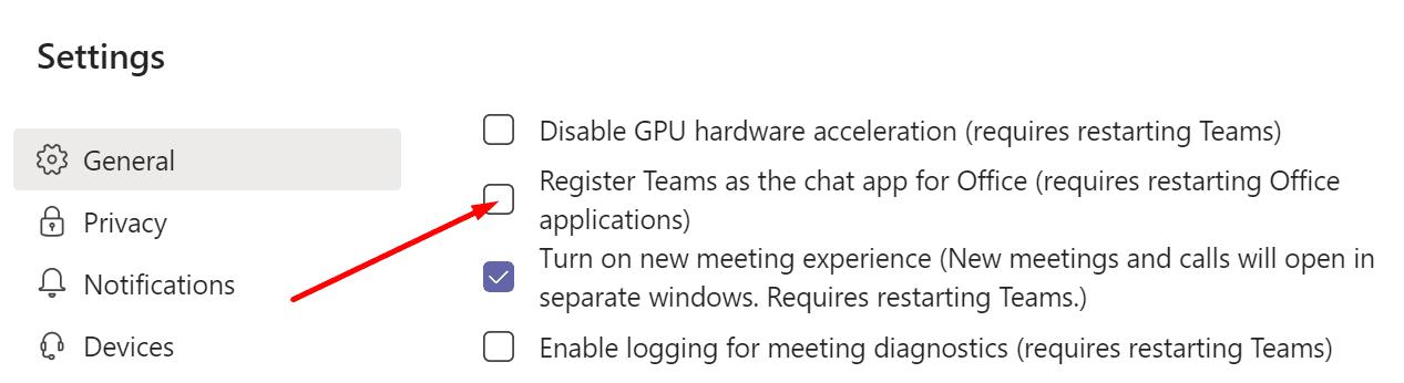 Registrar equipos como una aplicación de chat para la oficina