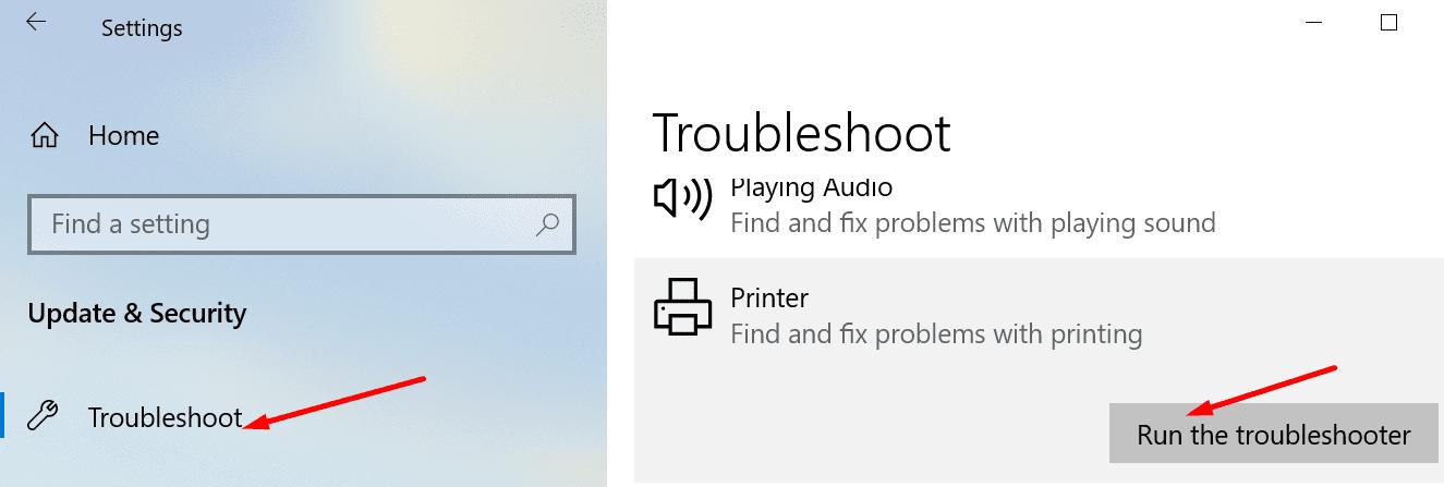 Ejecute el solucionador de problemas de la impresora.