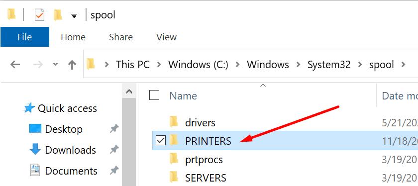 Carpeta de impresora de carrete Windows 10