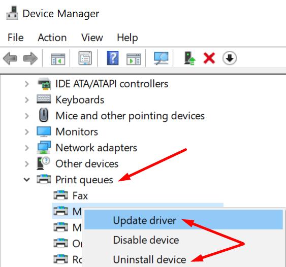 Actualizar el controlador de la impresora