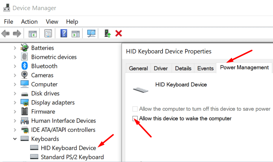 Detenga el teclado para reactivar la computadora