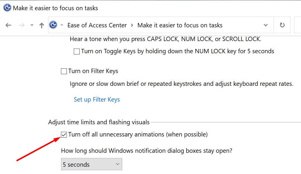Windows 10 desactiva todas las animaciones innecesarias
