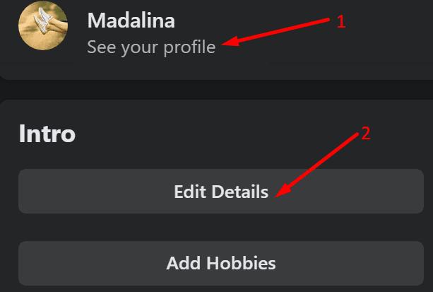 Editar los detalles de la introducción del perfil de Facebook