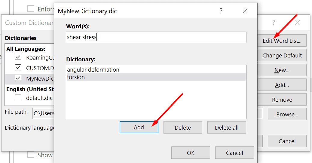 agregar nuevas palabras a la palabra del diccionario personalizado