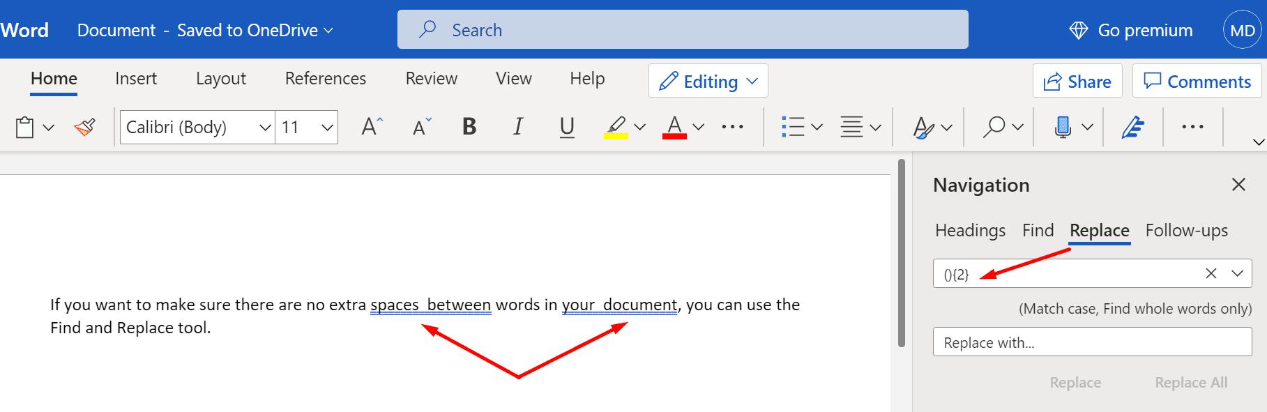 Encuentra espacios adicionales entre las palabras Microsoft Word