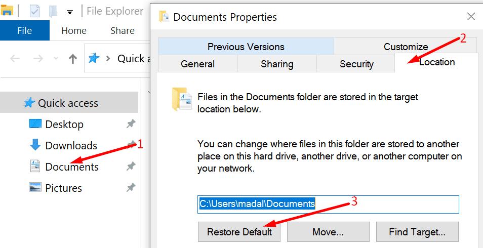 Restaurar la carpeta de documentos predeterminada