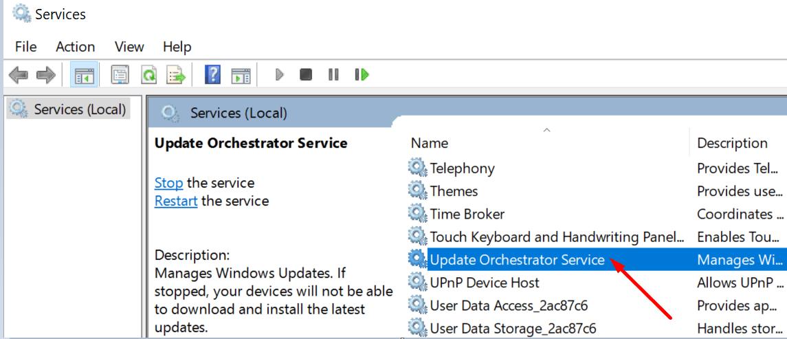Actualizar la ventana Servicios de Orchestrator 10