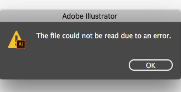 Adobe Illustrator: el archivo no se pudo leer debido a un error