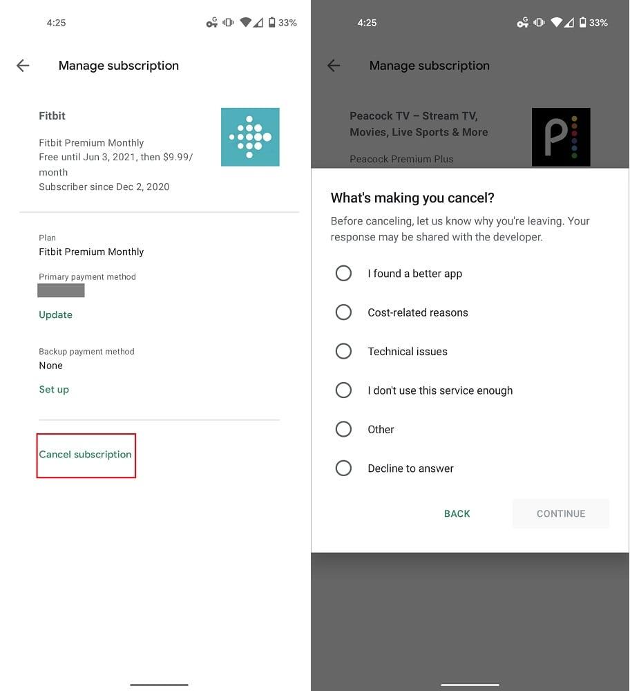 Administrar suscripciones a Google Play Play Store 2