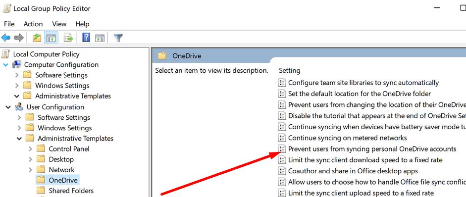 Impedir que los usuarios sincronicen su cuenta personal de OneDrive