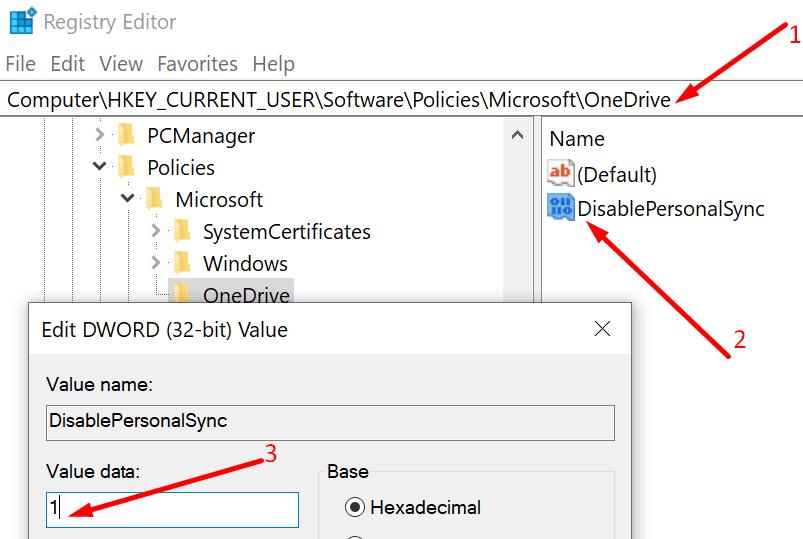 Deshabilite el editor de registro para la sincronización de cuentas personales