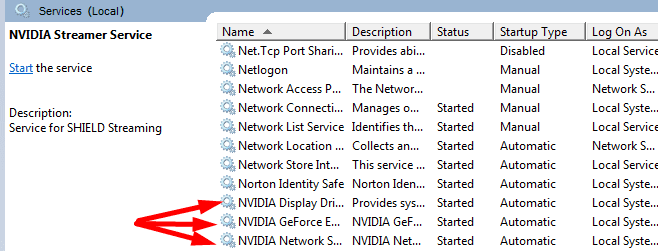 Reinicie los servicios de nvidia Windows 10