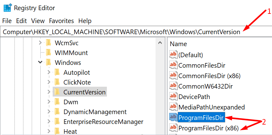 Edite el editor de registro para programfilesdir