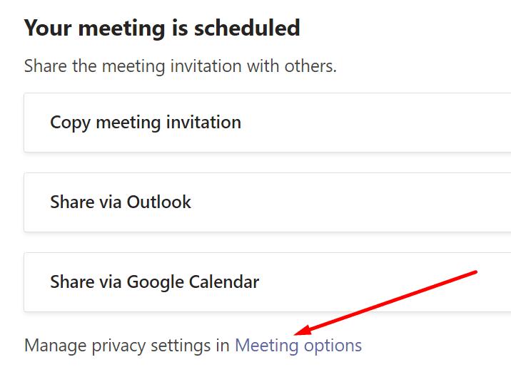 Opciones de reunión de Microsoft Teams