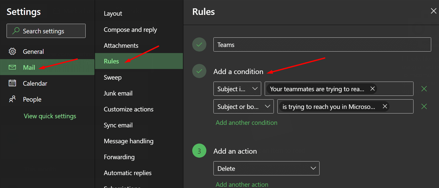 Los equipos de bloques están tratando de lograr su regla de Outlook