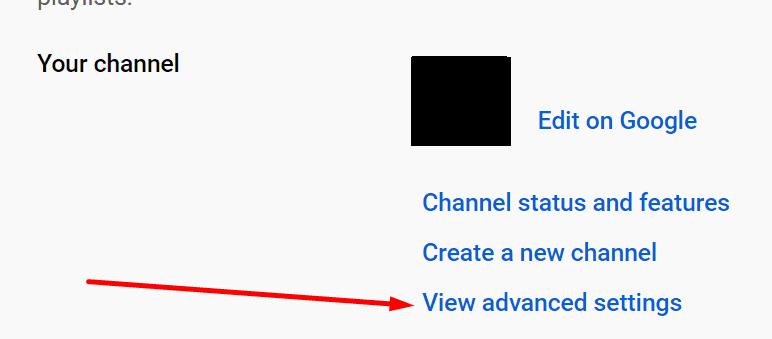 Mostrar configuración avanzada del canal de YouTube