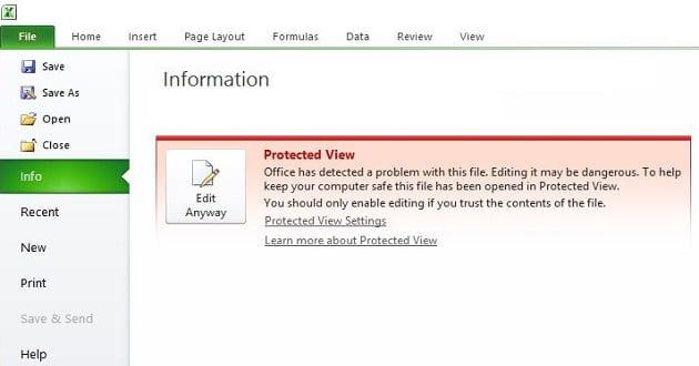 Excel: este archivo no se pudo abrir en la Vista protegida