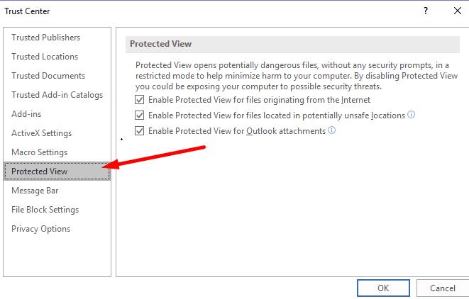 Configuración de Excel para vistas protegidas