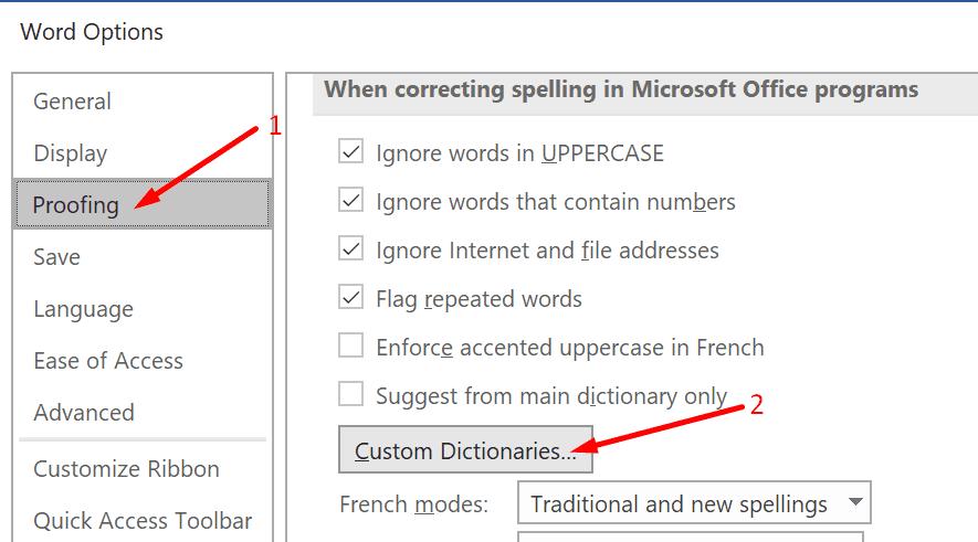 Botón de diccionarios personalizados de Word