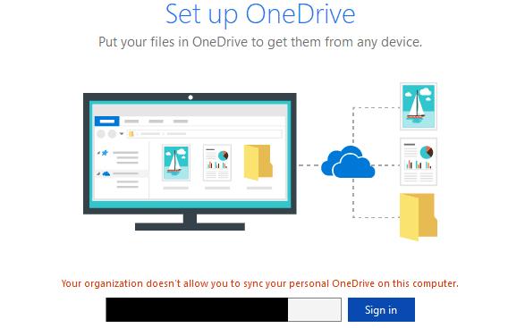 En la organización, no puede sincronizar Personal OneDrive en su computadora