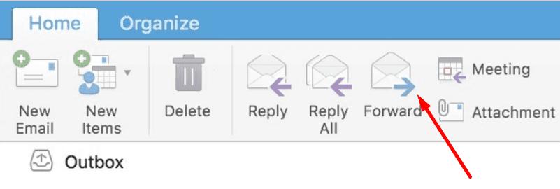 Botón de avance de Outlook