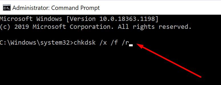 Ejecute chkdsk windows 10