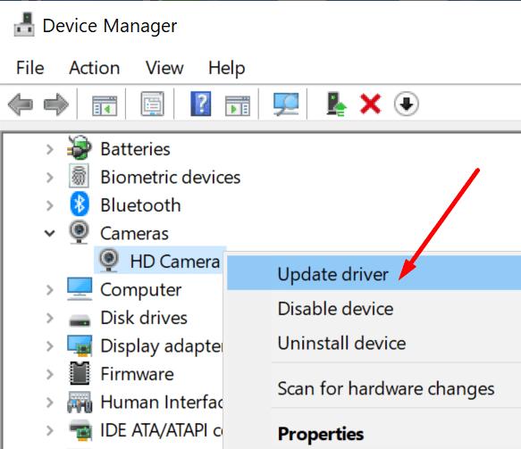 Actualice el controlador de la cámara web Windows 10