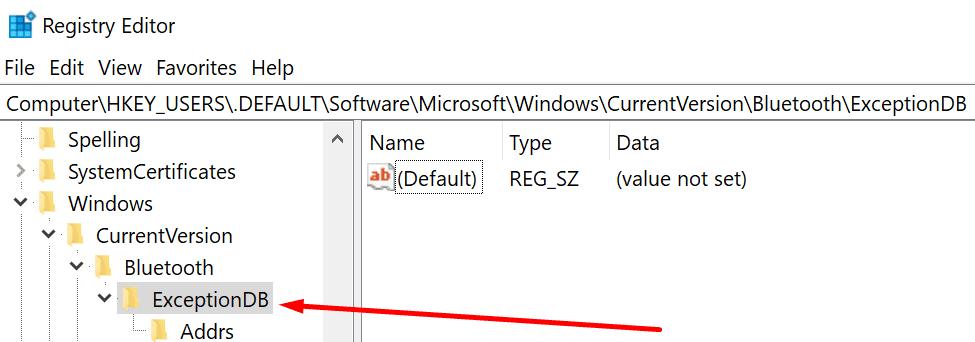 Editor de registro de DB de excepción de Bluetooth