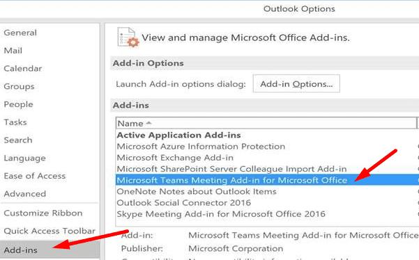 Complemento de reunión de Microsoft Teams para Office Outlook